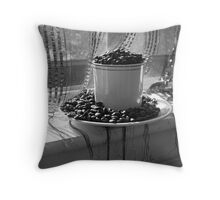 Coffee Cup in Window Throw Pillow