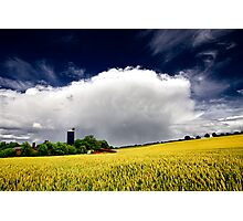farm and wheat field Photographic Print