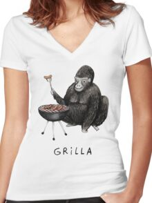 Grilla Women's Fitted V-Neck T-Shirt