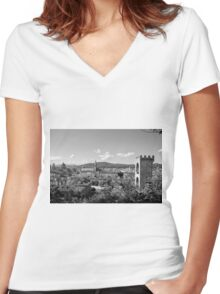 black and white Florence landscape Women's Fitted V-Neck T-Shirt