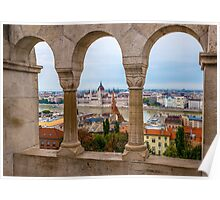 Parliament Building and the Danube River from Fisherman's Bastion, Budapest, Hungary Poster