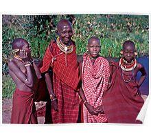 Masai Woman and Three Girls, Serengeti, East Africa Poster