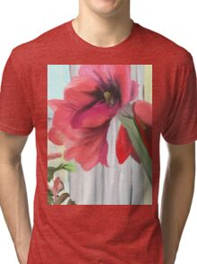 Blooming Amaryllis and Poinsettia Tri-blend T-Shirt