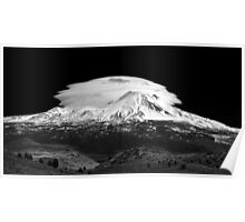 Lenticular Clouds over Mt Shasta, Northern California Poster