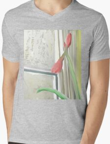 Budding Amaryllis By Winter Window  Mens V-Neck T-Shirt