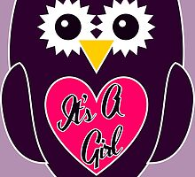 Purple Owl with Pink Belly - It's A Girl by ChristianMugs