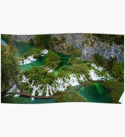 Travertine Falls and Walkway, Plitvice Lakes National Park, Croatia Poster