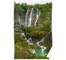 Veliki Slap and Falls Below, Plitvice Lakes National Park, Croatia Poster