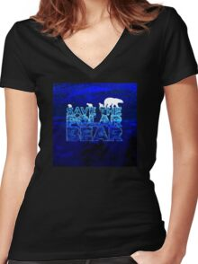 Save the Polar Bear night design Women's Fitted V-Neck T-Shirt