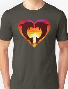 Love Dolphins - Sunset Heart T-Shirt