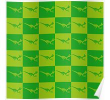 Dinos in Green Squared Poster