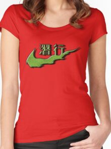 Chinese Sneak Green Snake Skin Women's Fitted Scoop T-Shirt