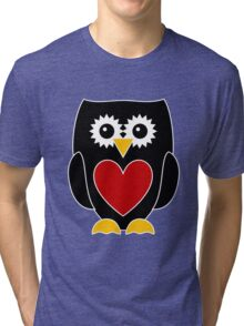 Black Owl with Red Heart Tri-blend T-Shirt