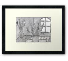 FERN IN SUNLIGHT AND GLASS FLOOR VASE  Framed Print