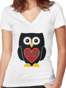 Black Owl with Red Heart - Love Women's Fitted V-Neck T-Shirt