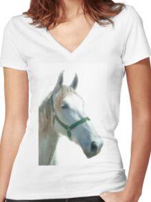 white horse Women's Fitted V-Neck T-Shirt