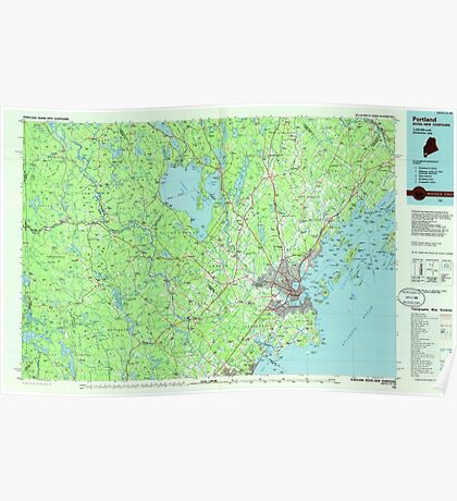 Maine USGS Historical Map Portland 808182 1985 100000 Poster