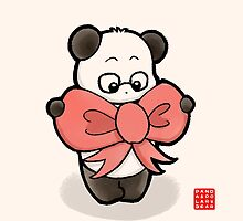 Panda In Pink Ribbon by Panda And Polar Bear