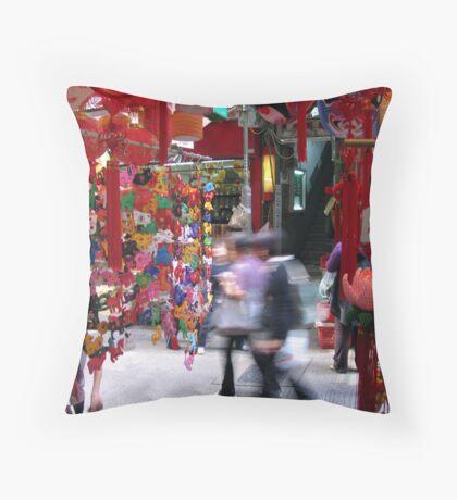 Busy Street in Hong Kong Throw Pillow