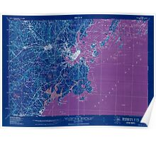 Maine USGS Historical Map Portland And Vicinity 807608 1918 62500 Inversion Poster