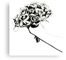 Line Drawing Of Roses Canvas Print