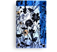 Japanase Windflowers - Chine Colle Woodcut Canvas Print