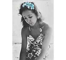 A Young Anais Nin with Blue Flowers Photographic Print