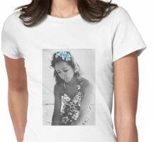 A Young Anais Nin with Blue Flowers Womens Fitted T-Shirt