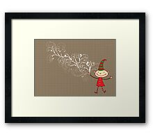 Swirly Magical Christmas Elf Framed Print