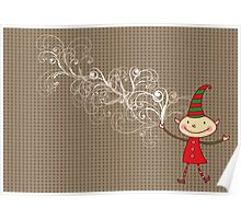 Swirly Magical Christmas Elf Poster