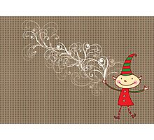 Swirly Magical Christmas Elf Photographic Print