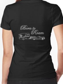 Born to Roam- Shasta & Caddy in White Women's Fitted V-Neck T-Shirt