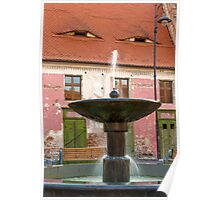 Eyes above the Fountain, Historic Center of Sibiu, Romania Poster