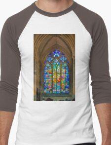 Stain Glass Window by Alfons Mucha inside Saint Vitus Cathedral, Prague, Czech Republic Men's Baseball ¾ T-Shirt