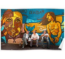 Men on Bench with Street Art, La Boca Barrio, Buenos Aires, Argentina Poster