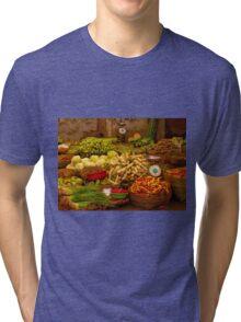 Fresh Vegetables, Street Market in Can Tho, Southern Vietnam Tri-blend T-Shirt