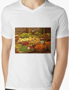 Fresh Vegetables, Street Market in Can Tho, Southern Vietnam Mens V-Neck T-Shirt
