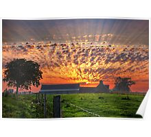 Sunrise over Farm in Courtils, Normandy Coast of France Poster