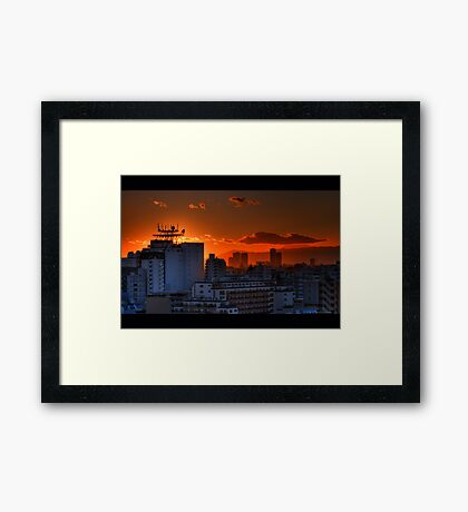Sunset from our flat looking towards Mount Fuji; Omori, Tokyo, Japan Framed Print