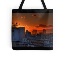 Sunset from our flat looking towards Mount Fuji; Omori, Tokyo, Japan Tote Bag