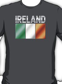 Ireland - Irish Flag & Text - Metallic T-Shirt