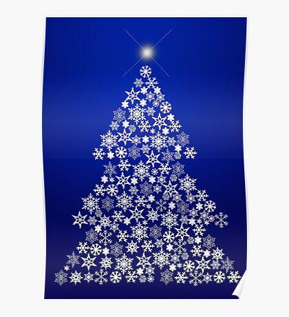 Snowflake Christmas Tree Poster