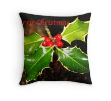 Holly Christmas Card Throw Pillow