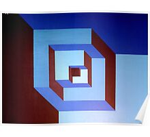 Notched Blue Boxes Poster
