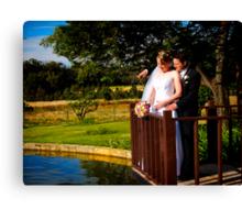 Bride and Groom on Pond Canvas Print