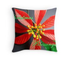 Poinsetta Christmas Card Throw Pillow