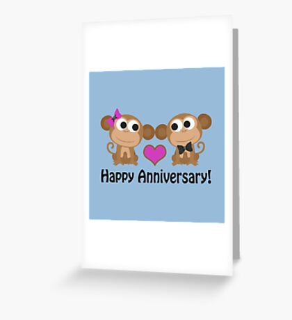 Happy Anniversary monkeys Greeting Card