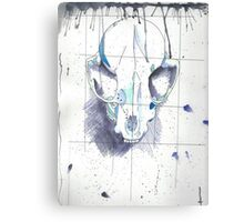 Skull - Ink and Watercolor Canvas Print