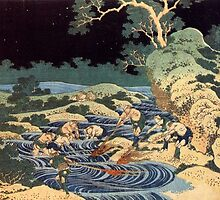 'Fishing With Torches' by Katsushika Hokusai (Reproduction) by Roz Abellera Art Gallery