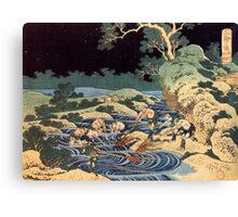 'Fishing With Torches' by Katsushika Hokusai (Reproduction) Canvas Print
